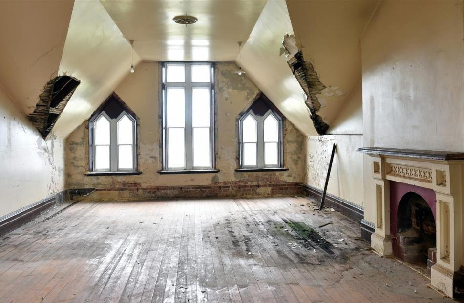 Significant damage and grand interiors sit side by side on the priory's top floor.