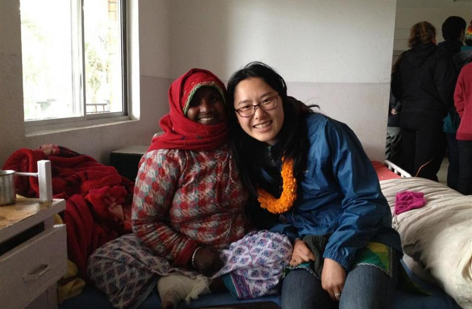 Sophie Bang (right) and a patient at Anandaban Hospital. Photo: supplied