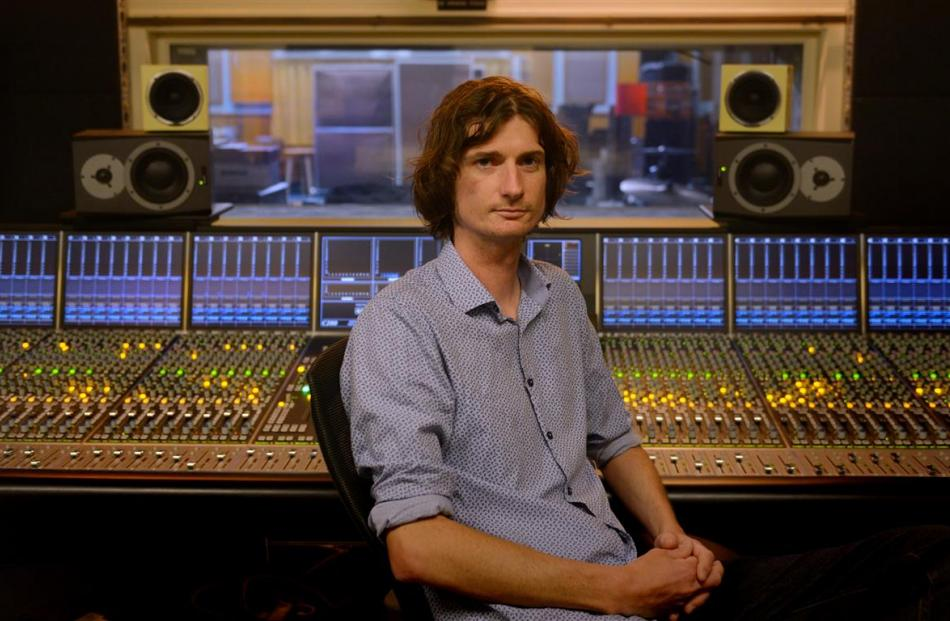 Sound engineer Michael Holland in the University of Otago Albany St studio. Photo by Gerard O'Brien.
