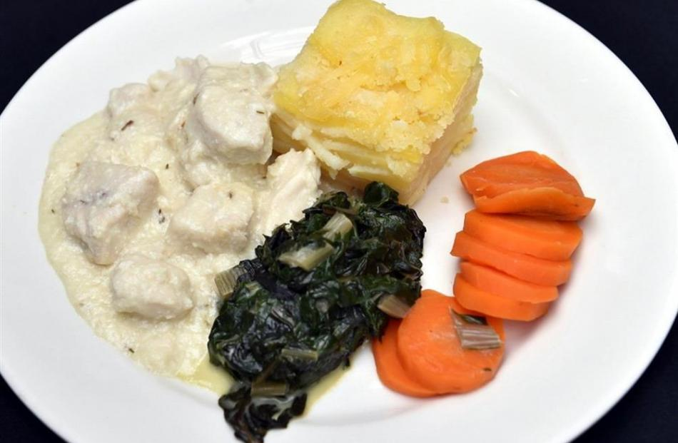 Chicken and lemon sauce, potato bake, silverbeet and carrots.