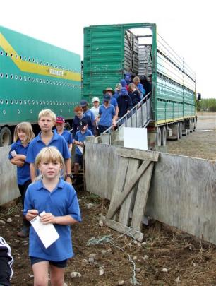 Ebony Scobie (8) and fellow pupils from Omarama School were shown through a stock truck at the...