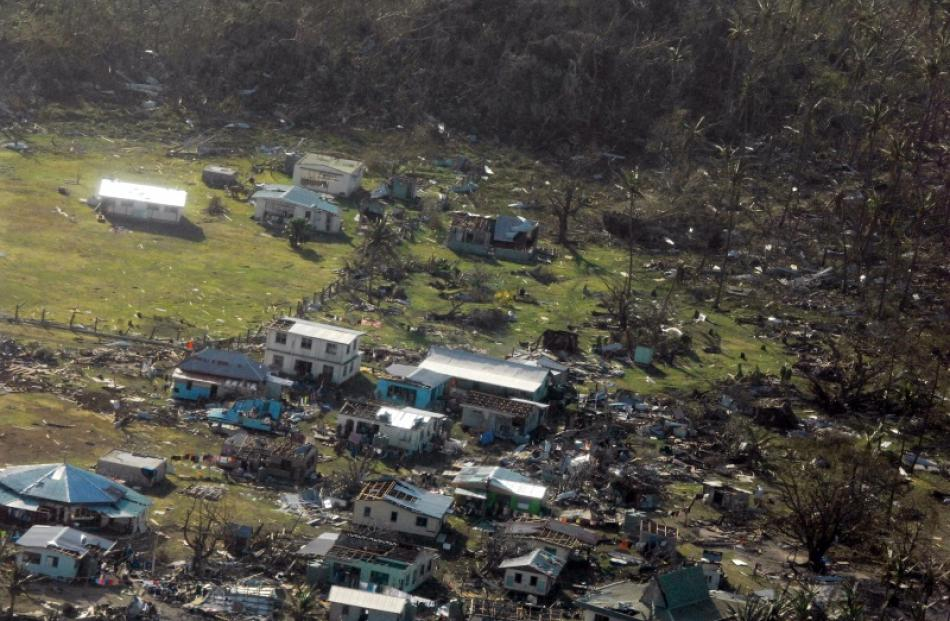 Parts of a remote Fijian village devastated by cyclone Winston. The New Zealand Defence Force...