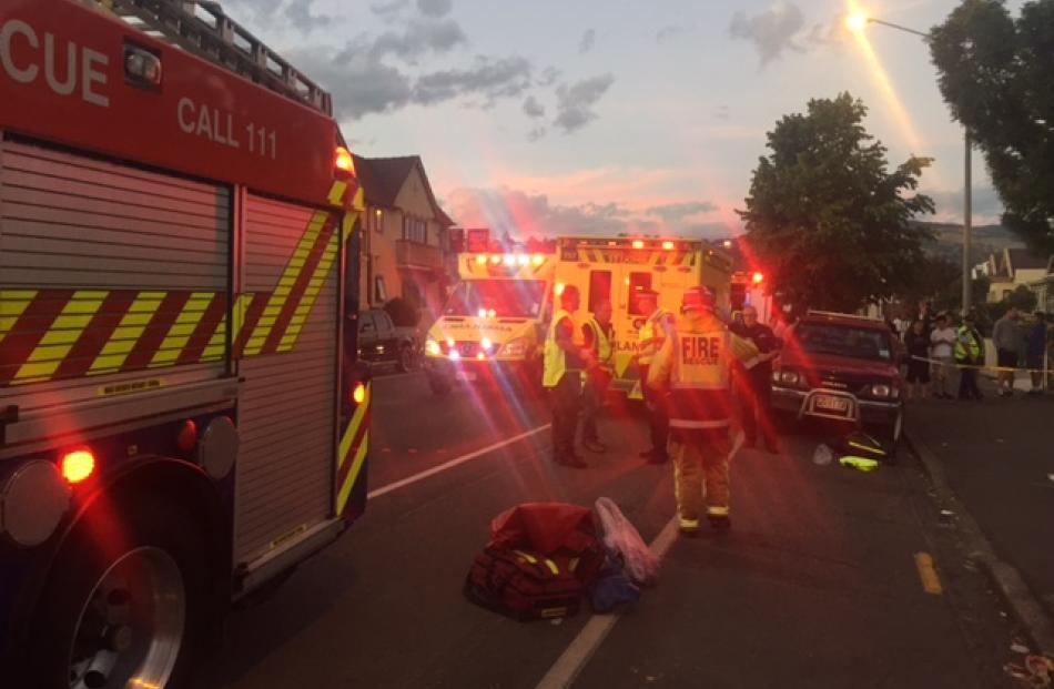 Emergency services attend the incident on Castle St. Photo: Rhys Chamberlain