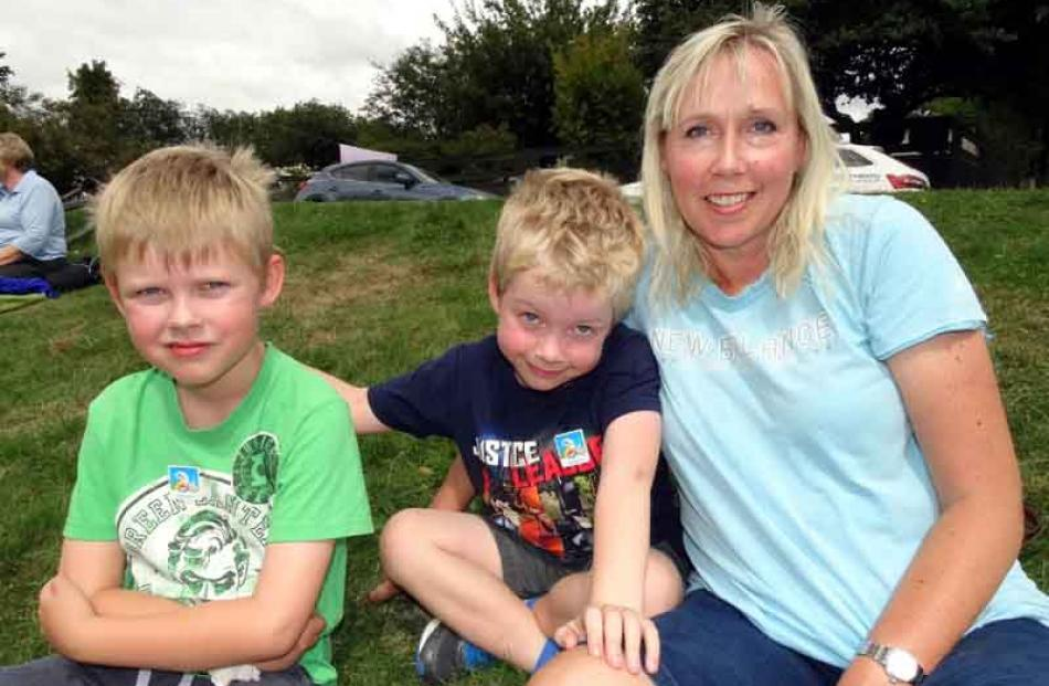 Jack (8), Sam (6) and Sue Reece, of Christchurch.