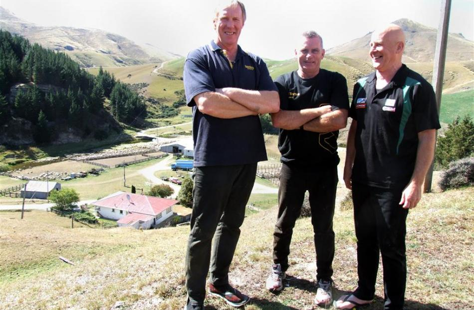 Trainers Norm Harraway (Rakaia), Johnny Fraser (Five Forks) and Tom Wilson (Balclutha) at a...