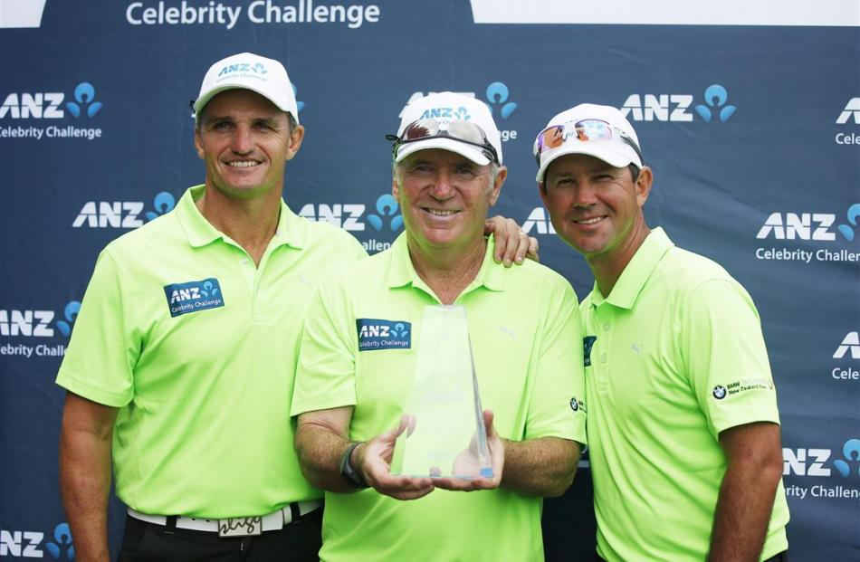 The Australian winners of the ANZ Celebrity Challenge (from left) Ivan Cleary, Allan Border and...