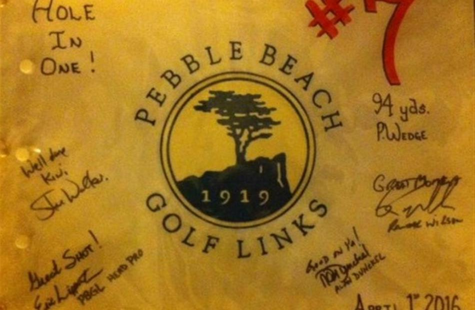 A congratulatory banner given to Ian Hurst for his hole-in-one.