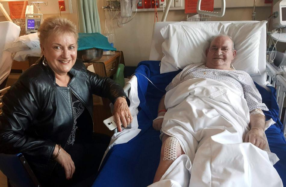Labour health spokeswoman Annette King and patient Alec Cleghorn. Photo: Supplied
