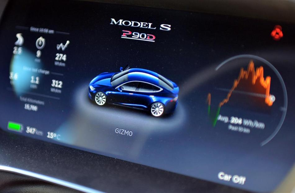 The driver's console on the Tesla  shows more than just the speed of the car.