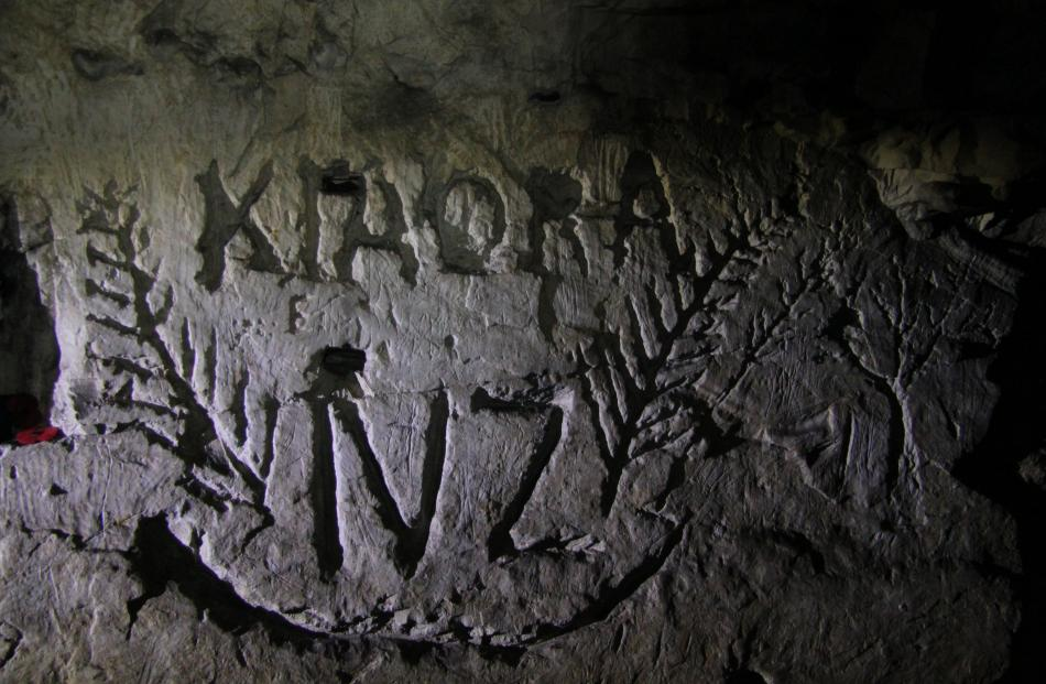 A carving in the chalk wall. Photo: Pascal Sirguey