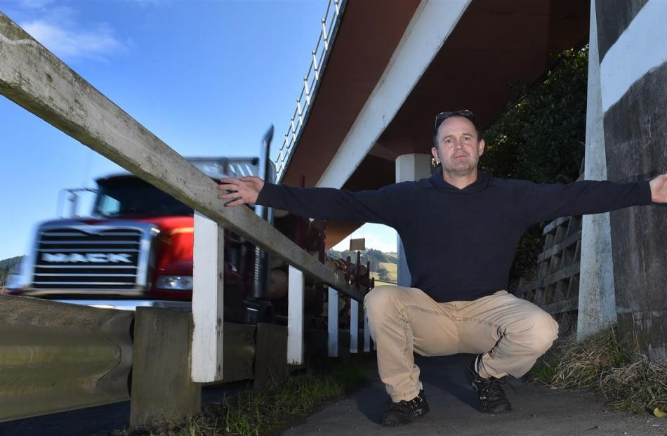 Chalmers Community Board chairman Steve Walker says the footpath on State Highway 88 is too...