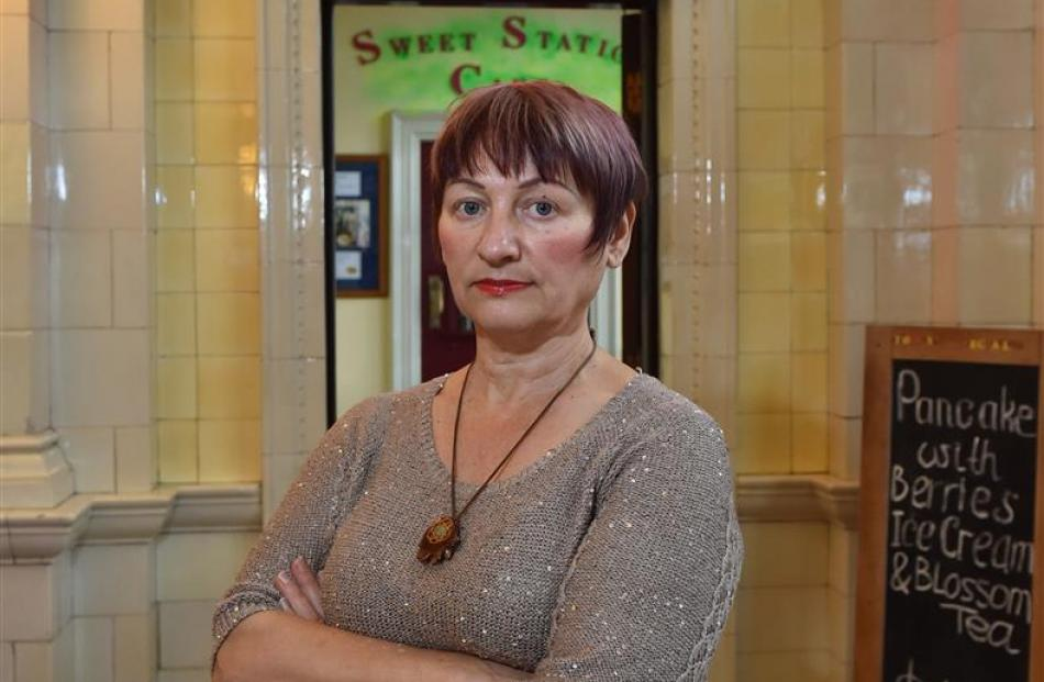 Sweet Station Cafe owner Tamara Jansen stands outside her business in the Dunedin Railway Station...