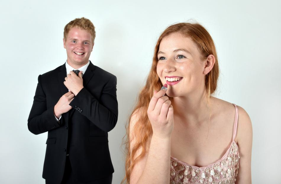 Columba College head girl Alice Jones (16) and formal partner Sam Dippie (17) of Otago Boys' High...