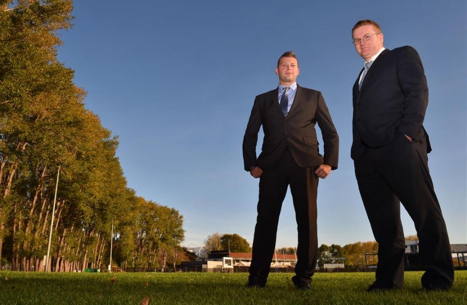 Football South chief executive Chris Wright (left) and chairman Matthew Holdridge at the site of...