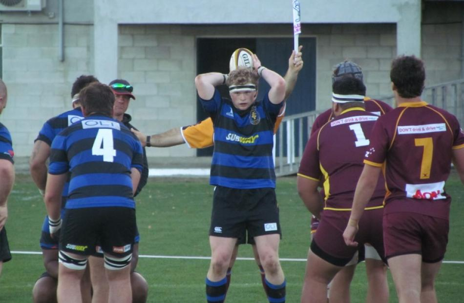 Excelsior hooker James O'Neill prepares to throw in to a lineout during the Citizens Shield club...