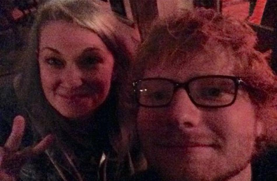 Prized photograph ... Australian Nisse Perry with Ed Sheeran in Queenstown. PHOTO: SUPPLIED