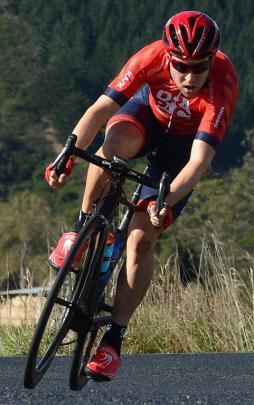 Brad Evans leads the Cycling Otago road championships men's race on the Taieri Plain in March....
