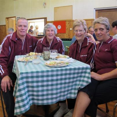 Enjoying a lunch break during the tournament are (from left) Keith Ruthven, of Momona, Noeline...