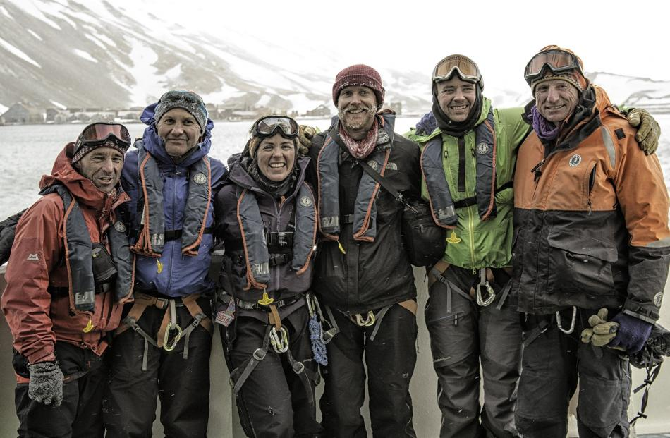 The expedition team. From left: Kevin Nicholas, Nigel Watson, Sinead Hunt, James Blake, Tom...