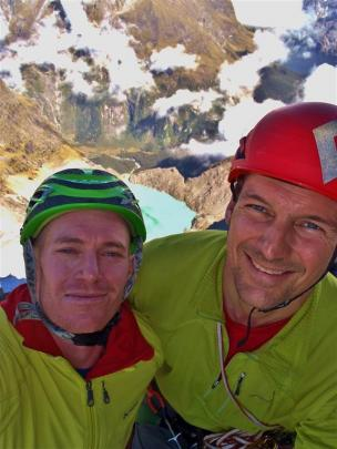 Queenstown mountaineers Ben Dare (left) and Steven Fortune, on the summit of Mt Tuhawaiki,...