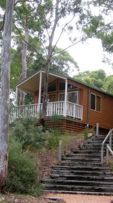 A cabin in the Lane Cove River Tourist Park, Lane Cove National Park, Sydney. PHOTO: ALLISON BECKHAM
