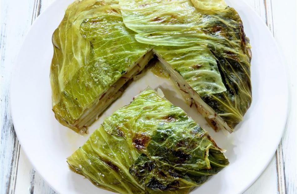 Cabbage and potato pie. Photo: Simon Lambert