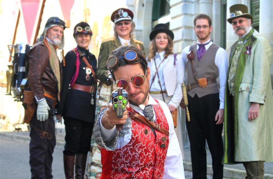Gearing up for Oamaru's four-day celebration of Steampunk are (front) Florent Cone, of France,...