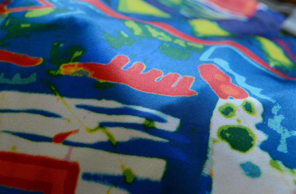 A digital textile print developed from third-year fashion student Hana Hoskins' own painting.