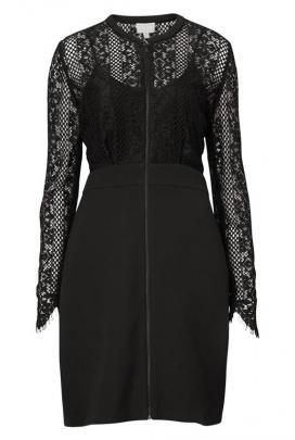 Witchery Lace Zip dress:  6% elastane, 23% rayon, 71% viscose.