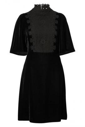 Witchery velvet panel dress: 100% polyester.
