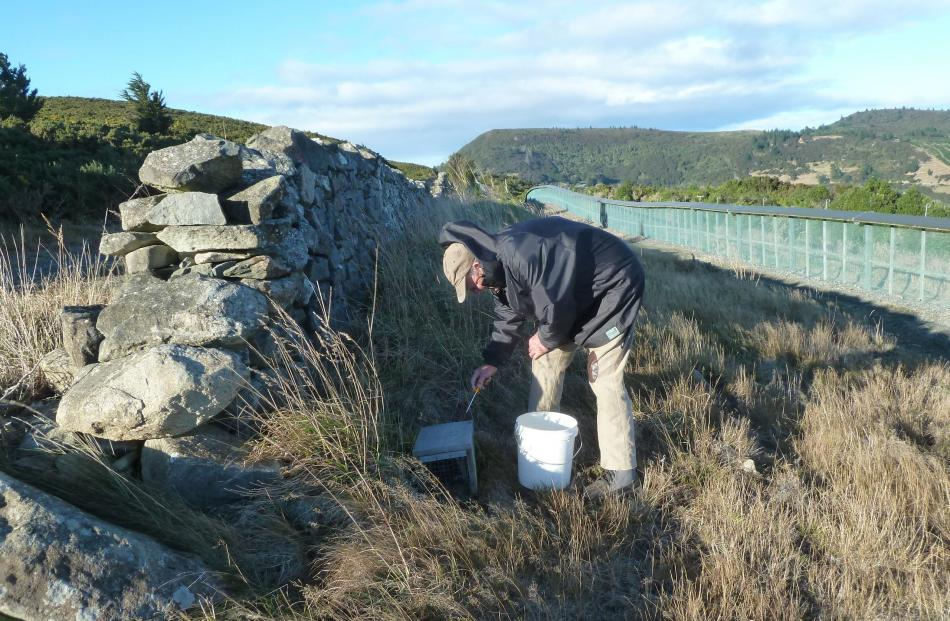 Bruce unscrews the protective cover over a trap to refresh the bait.