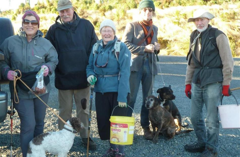 The assembled team ready to set off (from left) Chris James with Harriet, Bruce Cathro, Penny...