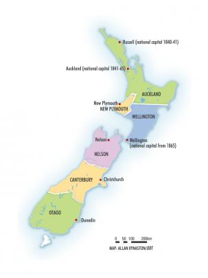 The original six provinces of 1853. Taranaki was called New Plymouth until 1858. Stewart Island...