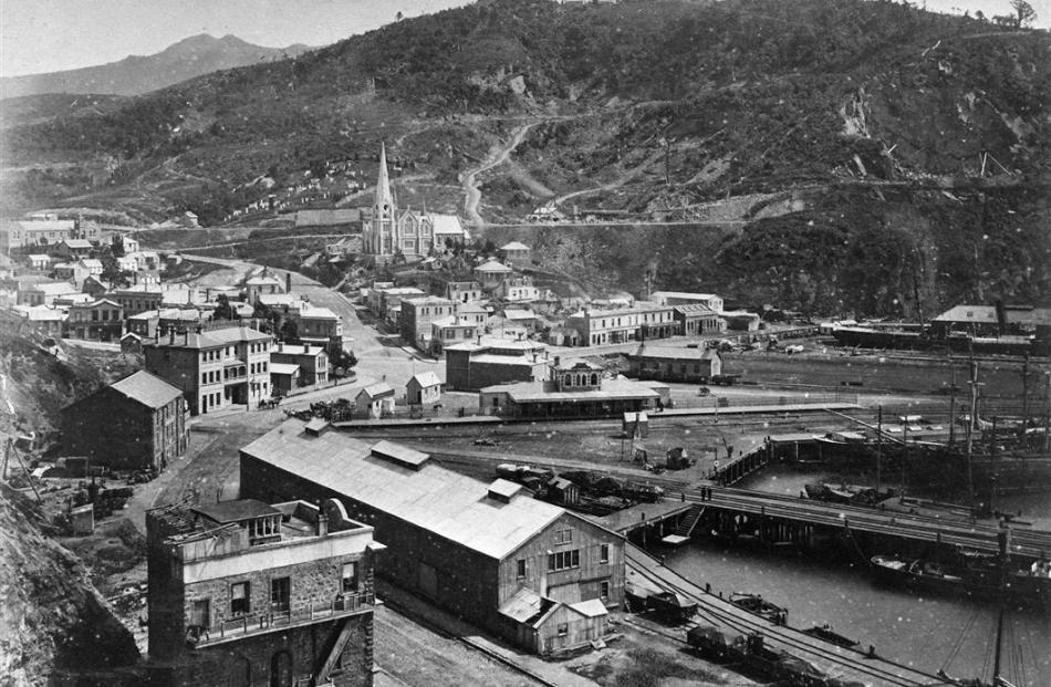 The railway line to Port Chalmers, photographed in the mid-to-late 1870s, provided a link to...