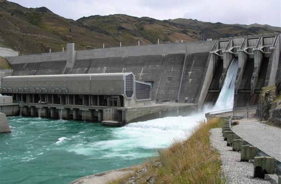 Contact Energy spills water from its Clyde Hydro dam power station on the Clutha river yesterday....