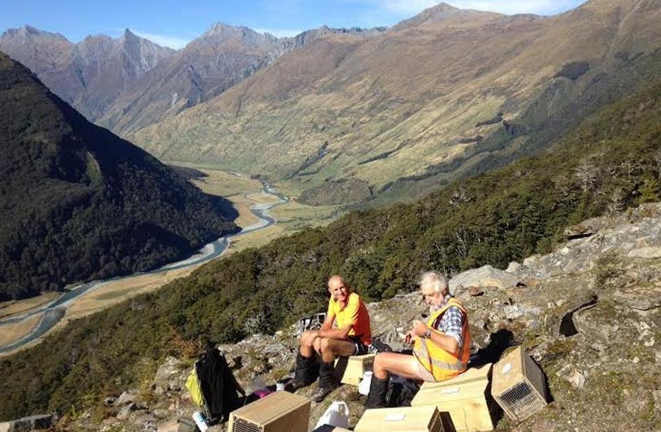 Matukituki Charitable Trust members Paul Hellebrekers (left) and Ian Turnbull  take a break from...