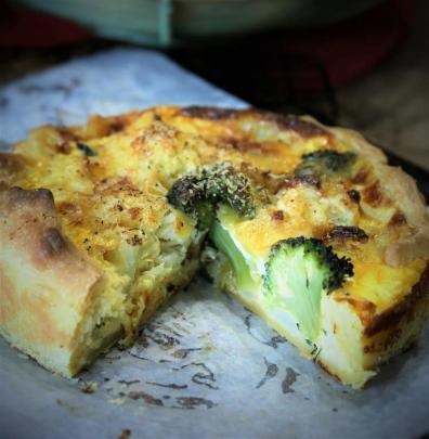 Cauliflower, broccoli and leek pie. Photo: Simon Lambert