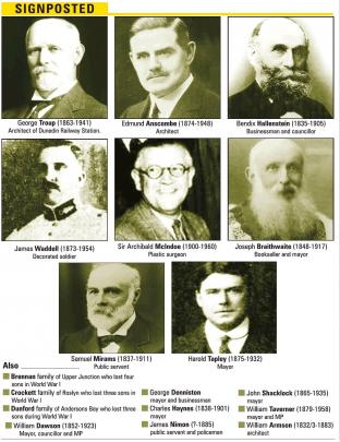 The men who were listed as options to have Dunedin streets named after them. Click to enlarge