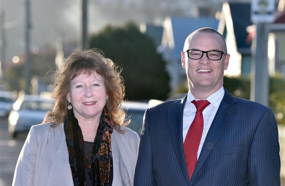 Dunedin South MP Clare Curran and Dunedin North MP David Clark celebrate the announcement of...