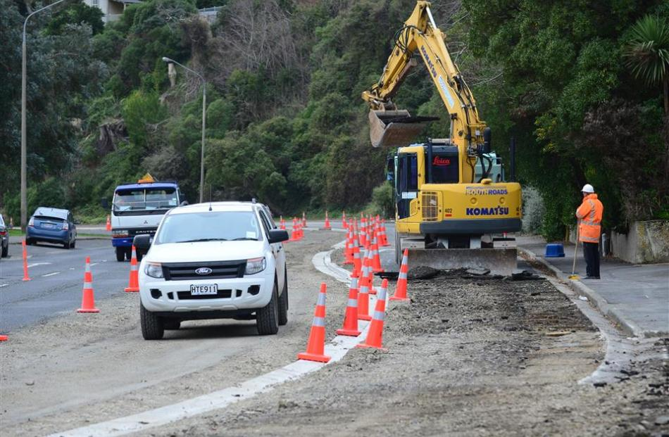 Contractors work on cycleway improvements in Portobello Rd, between Portsmouth Dr and Timaru St....