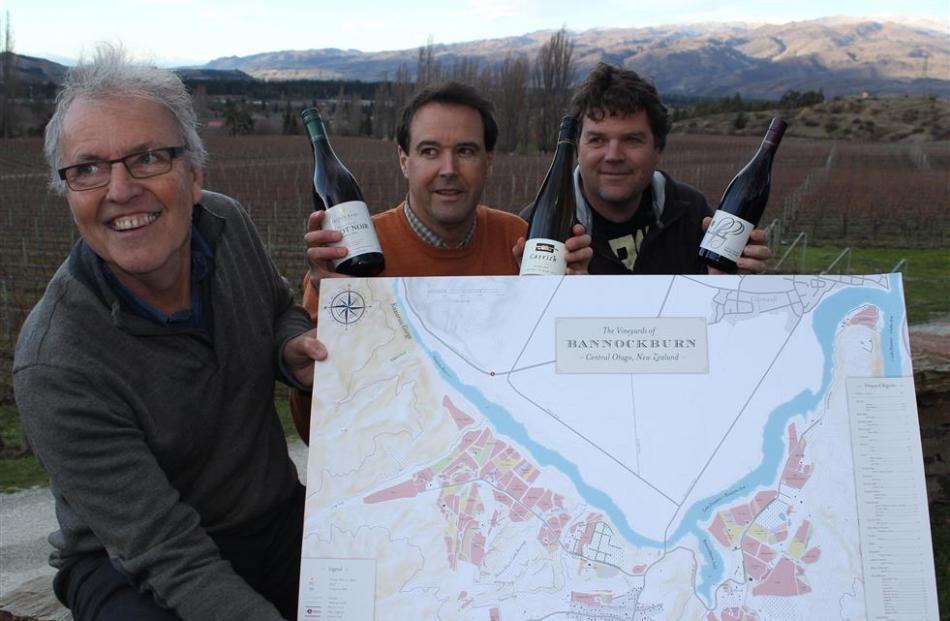 Carrick Wines owner Steve Green (left), Felton Road winemaker Blair Walter (centre) and Mt...