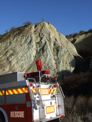 The 45m bank, combined with slippery, wet soil, made it a challenging rescue for the fire crew....