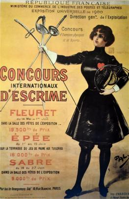 """A poster promoting fencing at the Paris Olympic Games, in 1900. The term """"Olympic"""" was..."""