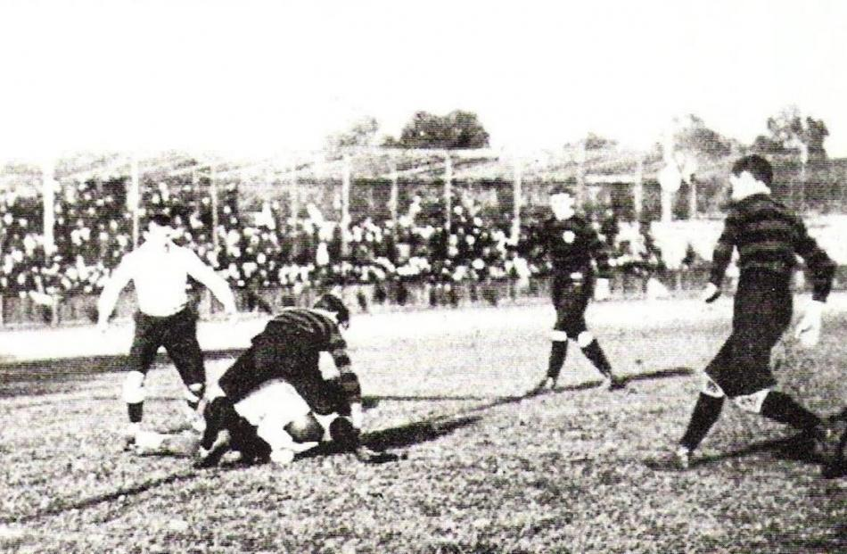 A scene from the France v Germany rugby game at the 1900 Olympic Games, in Paris. The photograph...