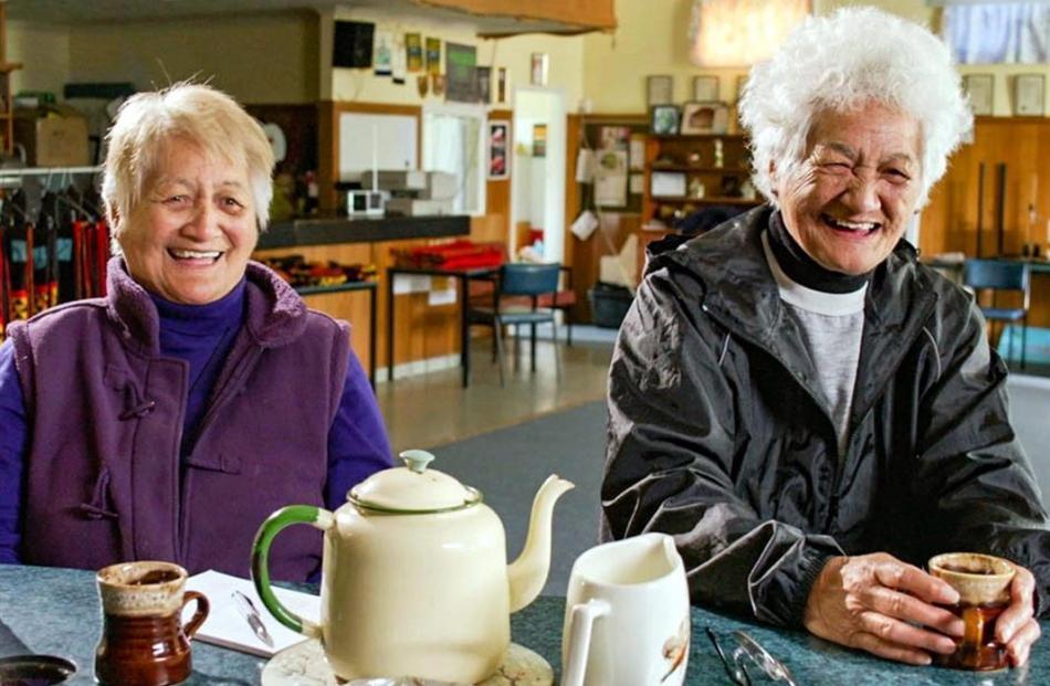 Patea Maori Club members Patricia (Bib) Ngarewa and Pauline (Bub) Prime.