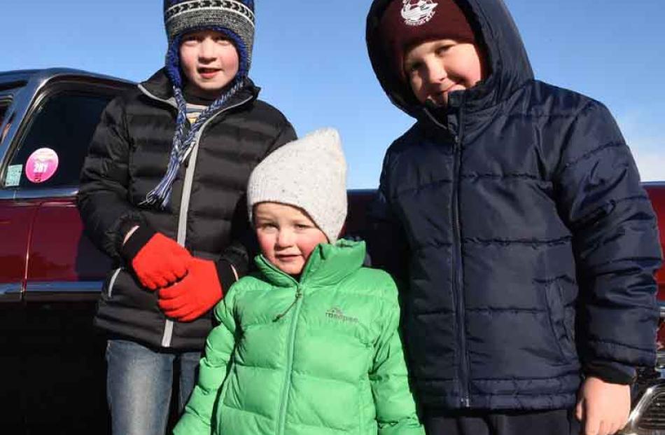 From left; Lucas Evans (9), Charlie Ryall (3) and Zac Scott (7) , all of Dunedin.