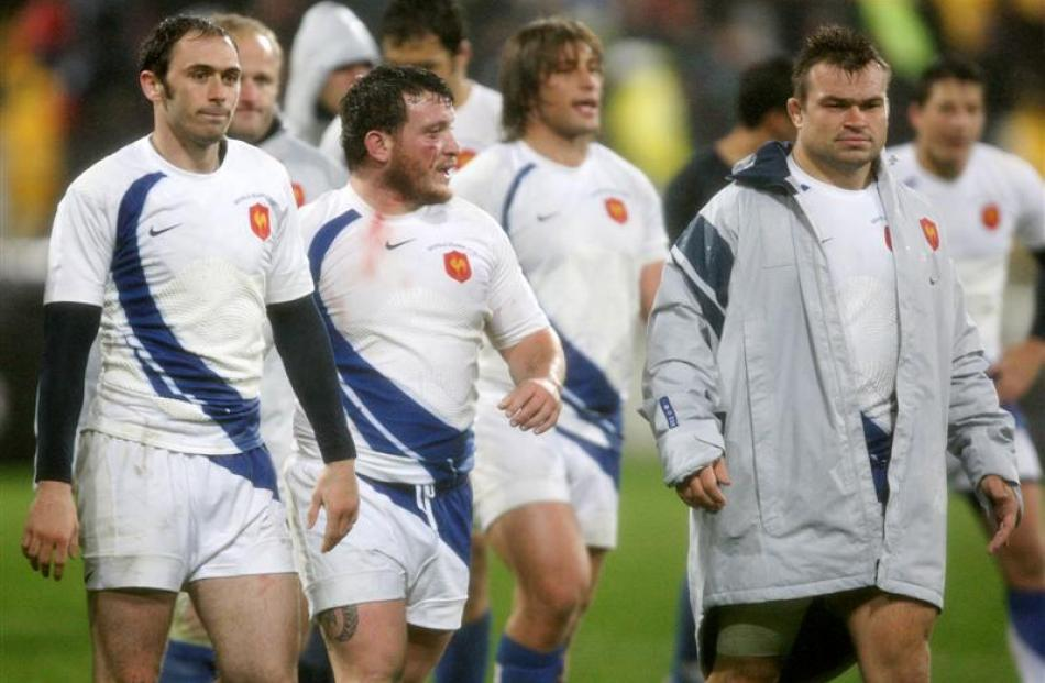 French players leave the field dejected after their loss against New Zealand. Credit:NZPA / Wayne...