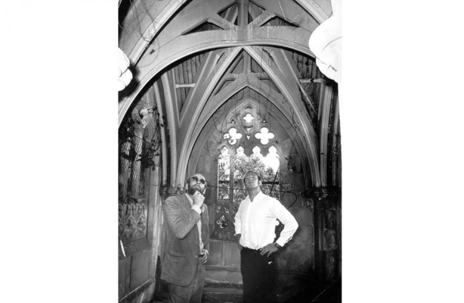 Barry Barker (left) and Bill Bachop surveying the tomb in 1972.