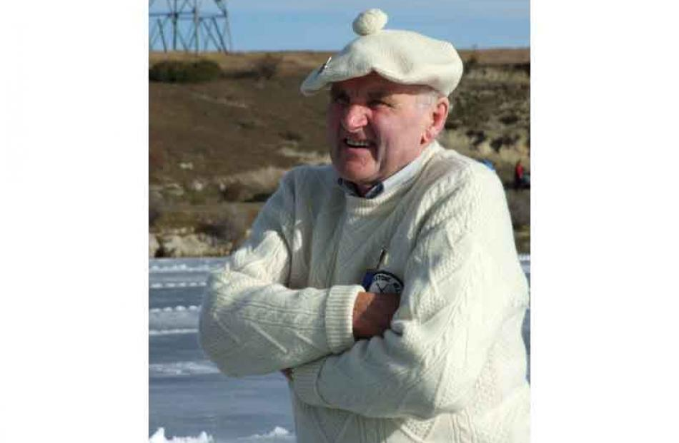 Stewart McKnight of Blackstone Hill watches the progress of his stone.