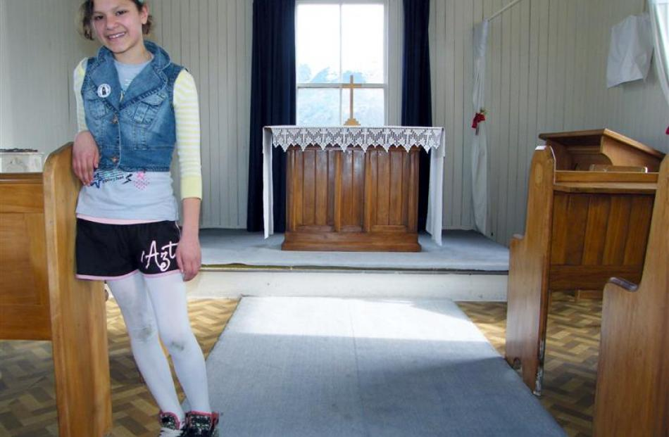 Glenorchy School pupil Claudia Moore (12) inside the 120-year-old Head of the Lake Community...